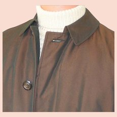 Vintage 1960s Copper Sharkskin Raincoat Briarcliff All Weather Coat Mens M L