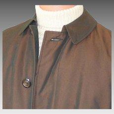 Vintage 1960s Copper Sharkskin Raincoat Briarcliff All Weather Faux Fur Removable Liner Coat Mens M L
