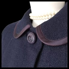 Vintage 1960s Boxy Boucle Navy Blue Transitional Season Overcoat Coat