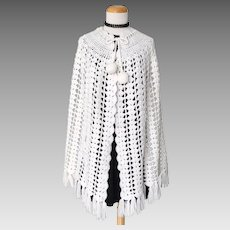Vintage Authentic 1960s White Crochet Cape with Dangle Ball Tied Neckline