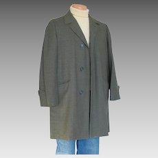 Vintage 1960s Green Black Glen Plaid Overcoat Rain Coat Car Coat