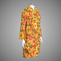 Vintage 1960s Reversible Raincoat Bright Orange Yellow Green Bright Floral Print M