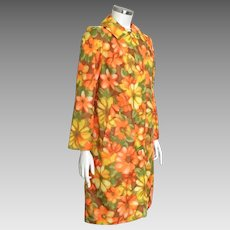 Vintage 1960s Reversible Raincoat Bright Orange Yellow Green Bright Floral Print with Harvest Gold M