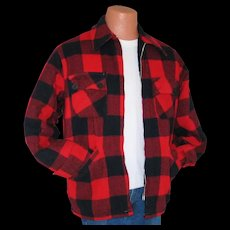Vintage 1970s Red Black Work Jacket Lumberjack Buffalo Plaid Winter Coat Caribou by Briarcliff M