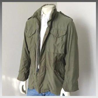Vintage 1960s 1970s Fatigue Green Vietnam Conflict War Military Field Jacket S M