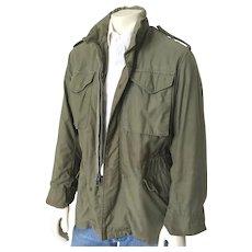 Vintage 1960s 1970s Fatigue Green Vietnam Conflict War Military Field Jacket Coat S M