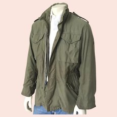 Vintage 1960s 1970s Fatigue Green Vietnam Conflict War Military Field Jacket Coat S M