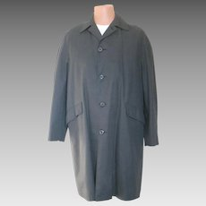 Vintage 1960s Menswear Campus Black Plaid All Weather Coat with Faux Fur Zip In Lining