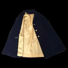 Vintage 1960s 1970s Navy Blue Cape with Sailing Ship Buttons