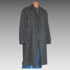 Vintage 1950s Black and Gray Tweed Wool Winter Overcoat Coat Menswear L XL