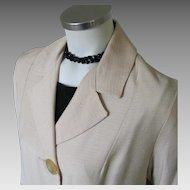 Vintage 1960s Creamy White Shantung Spring Coat M L