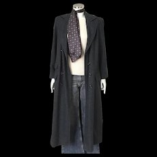 Vintage 1980s Charcoal Gray Harve Benard Double Breasted Full Length Winter Maxi Coat M