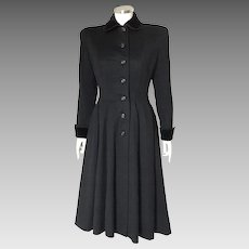 Vintage Late 1940s Early 1950s New Look Fit and Flare 12 Gore Black Wool Winter Princess Coat S WINTER SALE