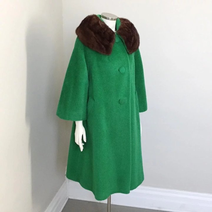 9f8c804bc2ee Vintage 1960s NOS Mohair and Wool Lilli Ann Swing Coat with Bell Sleeves  and Ranch Mink