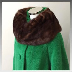 Vintage 1960s NOS Mohair and Wool Lilli Ann Swing Coat with Bell Sleeves and Ranch Mink Fur Collar M L