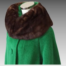 Vintage 1960s NOS Mohair and Wool Lilli Ann Swing Coat with Bell Sleeves and Ranch Mink Fur Collar M L  WINTER SALE