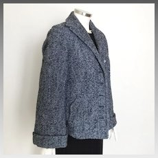 Vintage 1950s Marine Blue and Black Boucle Slub Swing Jacket M