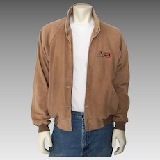 Vintage 1970s Farmers Asgrow O'sGold Tan Light Brown Corduroy Casual Baseball Jacket L
