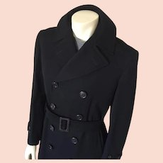 Vintage Early 1940s Menswear Black Twill Wool Gabardine Double Breasted Trench Coat Overcoat James Dean M L