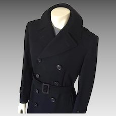 Vintage Early 1940s Menswear Black Twill Wool Gabardine Double Breasted Trench Coat Overcoat James Dean M L