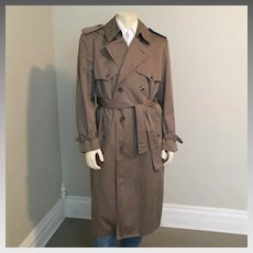 Vintage 1990s Cinerous Gray Grey London Fog Trench Coat with Epaulettes 42L