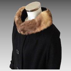 Vintage 1960s Bettijean Cozy Soft Black Alpaca Wool Winter Coat with Fur Trimmed Collar L XL
