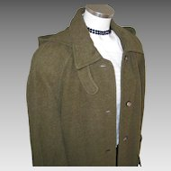 Vintage 1980s Moss Green Cozy Heavy Winter Wool and Llama Fiber Designer Coat from Russia L XL