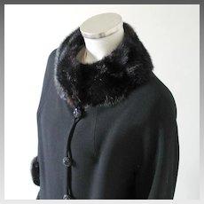 Vintage 1960s American Design Frank Gallant Black Wool Coat with Fur Trim M