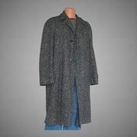 Vintage 1950s Black and Gray Tweed Wool Winter Overcoat Coat Mens L XL