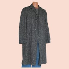 Vintage 1950s Black and Gray Tweed Wool Winter Overcoat Coat Mens L XL