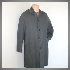 Vintage 1960s Menswear Campus Black Plaid All Weather Coat with Faux Fur Zip In Lining M L