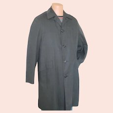 Vintage 1960s Menswear Campus Black Plaid All Weather Coat Zip In Faux Fur Lining M L