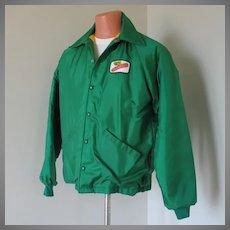 Vintage 1970s Green Dekalb Seed Corn Jacket with Warm Fuzzy Plush Lining M