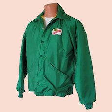 Vintage 1970s Green Dekalb Seed Corn Jacket with Warm Fuzzy Plush Lining M