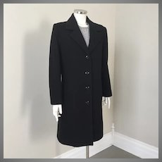 Vintage 1970s Black Wool Forecaster Winter City Coat with Red Paisley Lining M
