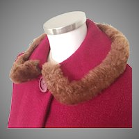 Vintage 1960s Cranberry Red Textured Wool Coat Brown Faux Fur Trimmed Collar S M
