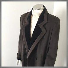 Vintage 1970s Alorna Espresso Brown Winter Wool Coat with Black Velvet Trim L