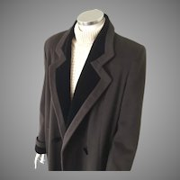 Vintage 1970s Alorna Espresso Brown Winter Wool Coat with Black Velvet Trim L