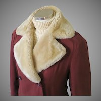 Vintage 1940s Russet Double Breasted Gabardine Winter Storm Coat with  Mouton Fur Collar M