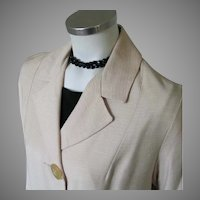 Vintage 1960s Creamy White Shantung Spring Coat M L