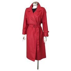 Vintage 1980s Red Polished Cotton London Fog Trench Raincoat Spring Coat with Belt M