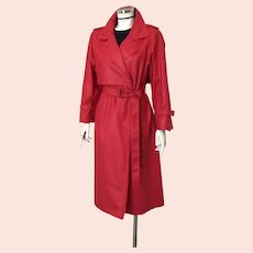 Vintage 1980s Red Polished Cotton London Fog Trench Raincoat Spring Coat with Belt M