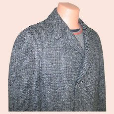 1950s Vintage Black and Gray Tweed Wool Winter Overcoat Coat Mens L XL with Plaid Lining