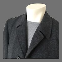 Vintage 1950s Black Charcoal Gray Twill Weave Tweed Overcoat Menswear Coat by Marbury