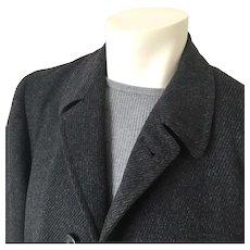 Vintage 1950s Black Charcoal Gray Twill Weave Tweed Overcoat Menswear Coat by Marbury