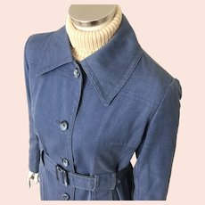 1970s Vintage Blue Denim Look London Fog Raincoat Coat M L