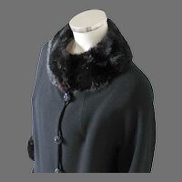 Vintage 1960s American Designer Frank Gallant Black Wool Coat with Fur Trim M