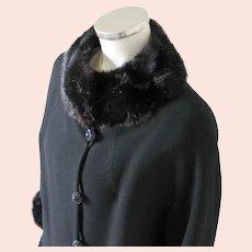 Vintage 1960s American Designer Frank Gallant Black Wool Coat with Fur Trim M