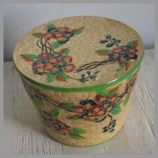 Vintage 1920 to 1940 Yellow Basket Weave Look Ceramic Pot with Lid Japan