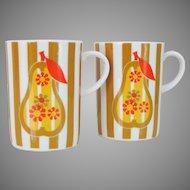 Vintage 1960s 1970s Mod Pear and Stripes Pair of Coffee Tea Mugs